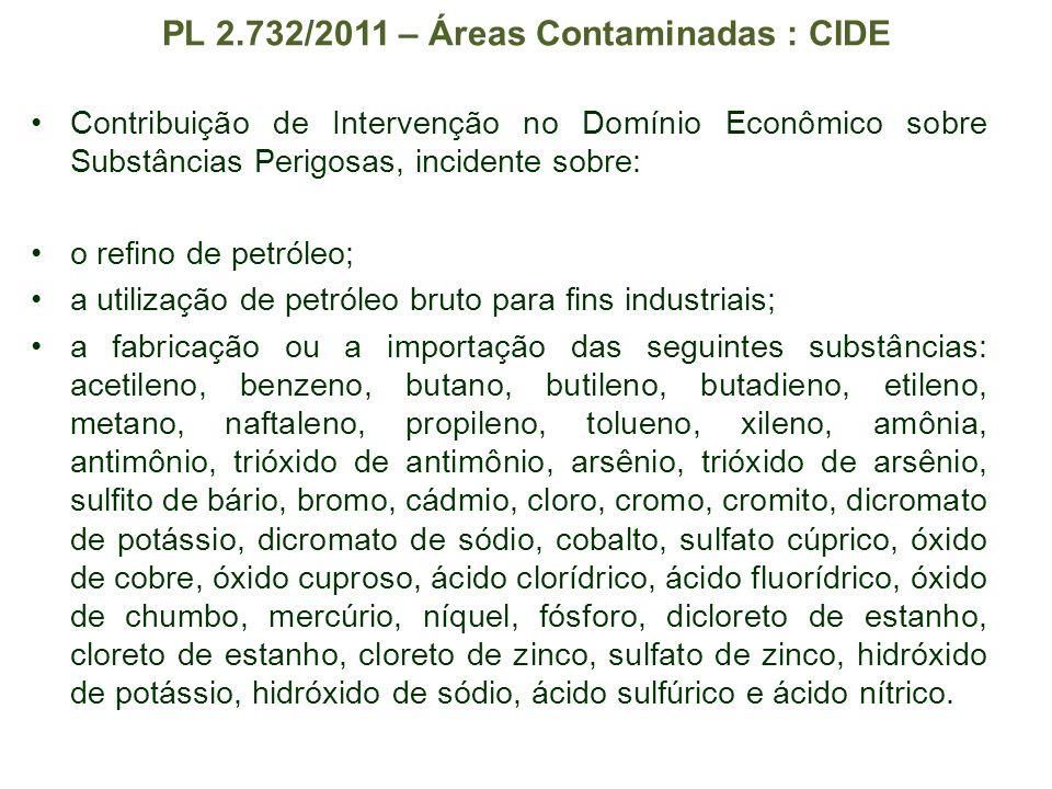 PL 2.732/2011 – Áreas Contaminadas : CIDE Contribuição de Intervenção no Domínio Econômico sobre Substâncias Perigosas, incidente sobre: o refino de p