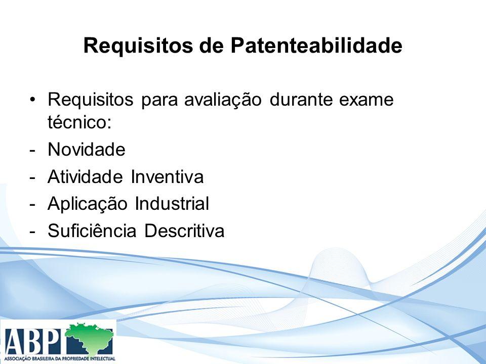 Requisitos de Patenteabilidade Requisitos para avaliação durante exame técnico: -Novidade -Atividade Inventiva -Aplicação Industrial -Suficiência Descritiva