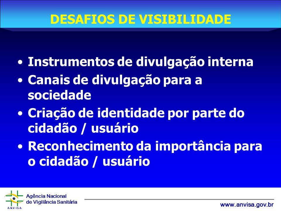 Agência Nacional de Vigilância Sanitária www.anvisa.gov.br Instrumentos de divulgação interna Canais de divulgação para a sociedade Criação de identidade por parte do cidadão / usuário Reconhecimento da importância para o cidadão / usuário DESAFIOS DE VISIBILIDADE