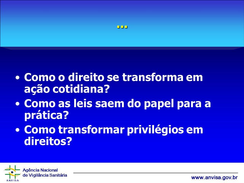 Agência Nacional de Vigilância Sanitária www.anvisa.gov.br Como o direito se transforma em ação cotidiana.