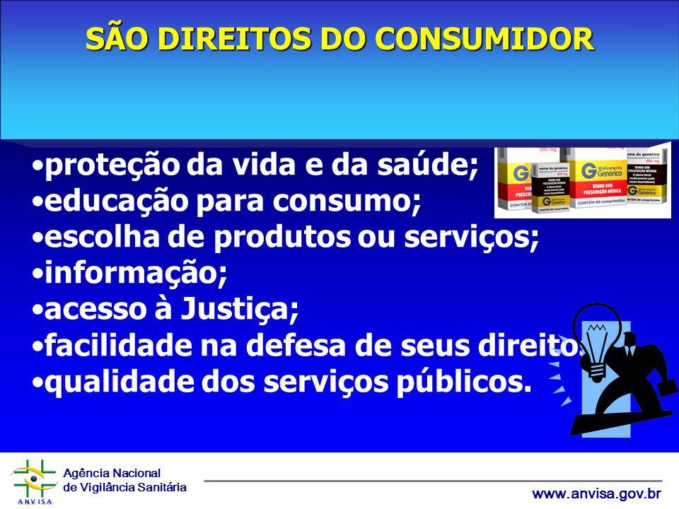 Agência Nacional de Vigilância Sanitária www.anvisa.gov.br proteção da vida e da saúde; educação para consumo; escolha de produtos ou serviços; inform