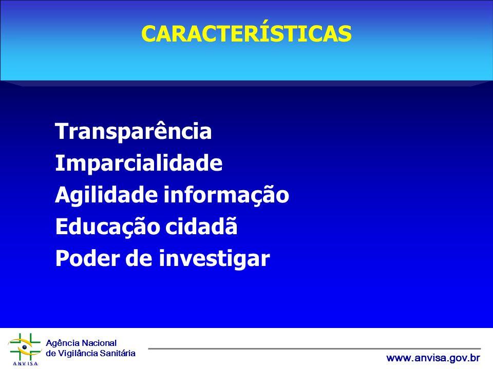 Agência Nacional de Vigilância Sanitária www.anvisa.gov.br Transparência Imparcialidade Agilidade informação Educação cidadã Poder de investigar CARACTERÍSTICAS