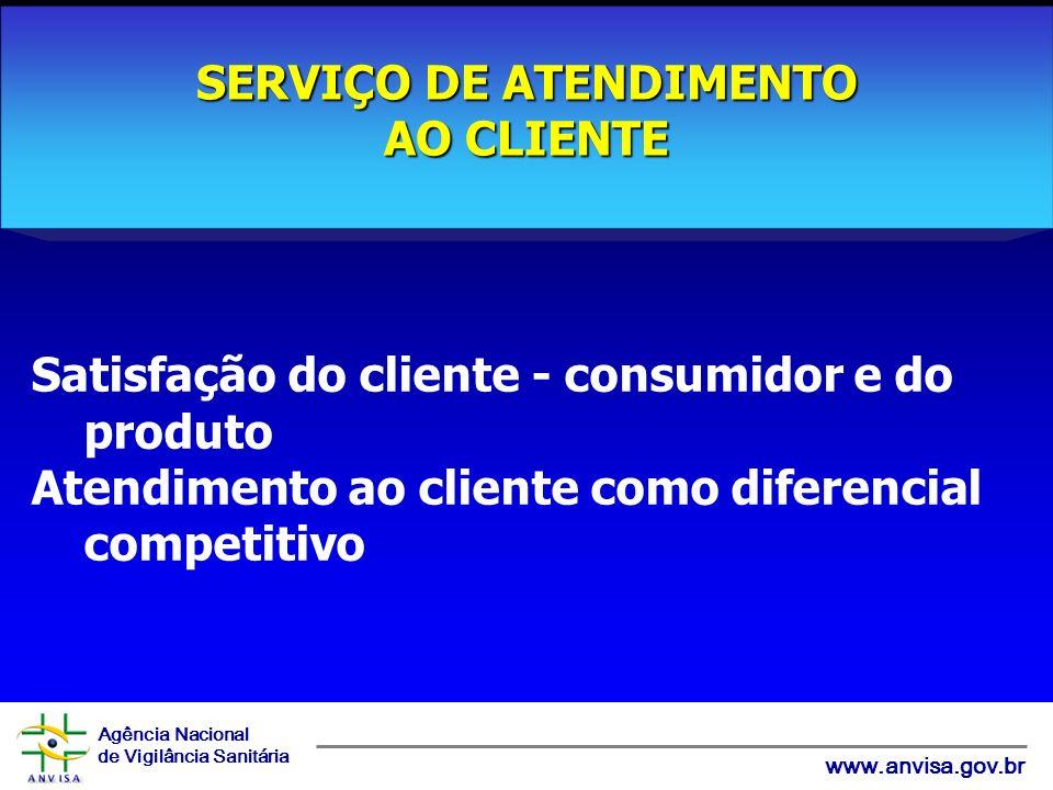 Agência Nacional de Vigilância Sanitária www.anvisa.gov.br Satisfação do cliente - consumidor e do produto Atendimento ao cliente como diferencial competitivo SERVIÇO DE ATENDIMENTO AO CLIENTE