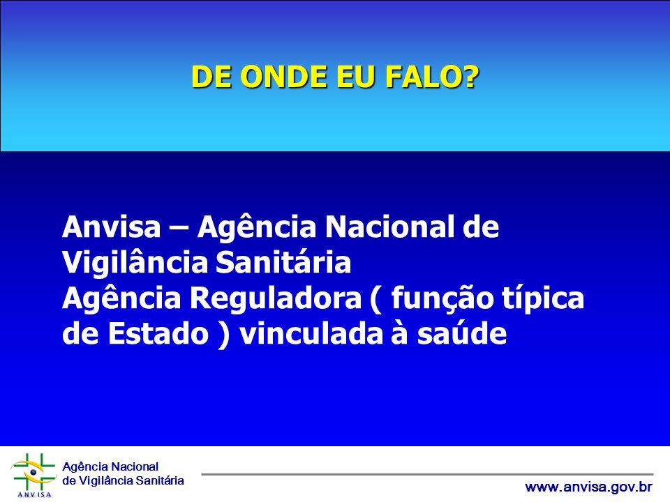 Agência Nacional de Vigilância Sanitária www.anvisa.gov.br DE ONDE EU FALO? Anvisa – Agência Nacional de Vigilância Sanitária Agência Reguladora ( fun