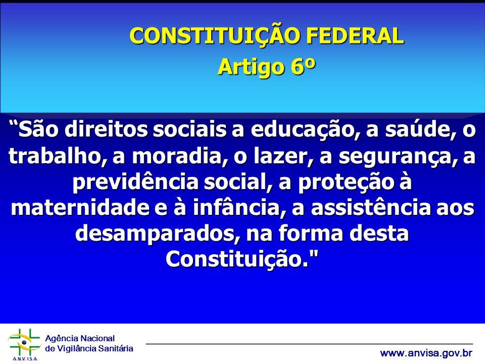 Agência Nacional de Vigilância Sanitária www.anvisa.gov.br São direitos sociais a educação, a saúde, o trabalho, a moradia, o lazer, a segurança, a pr