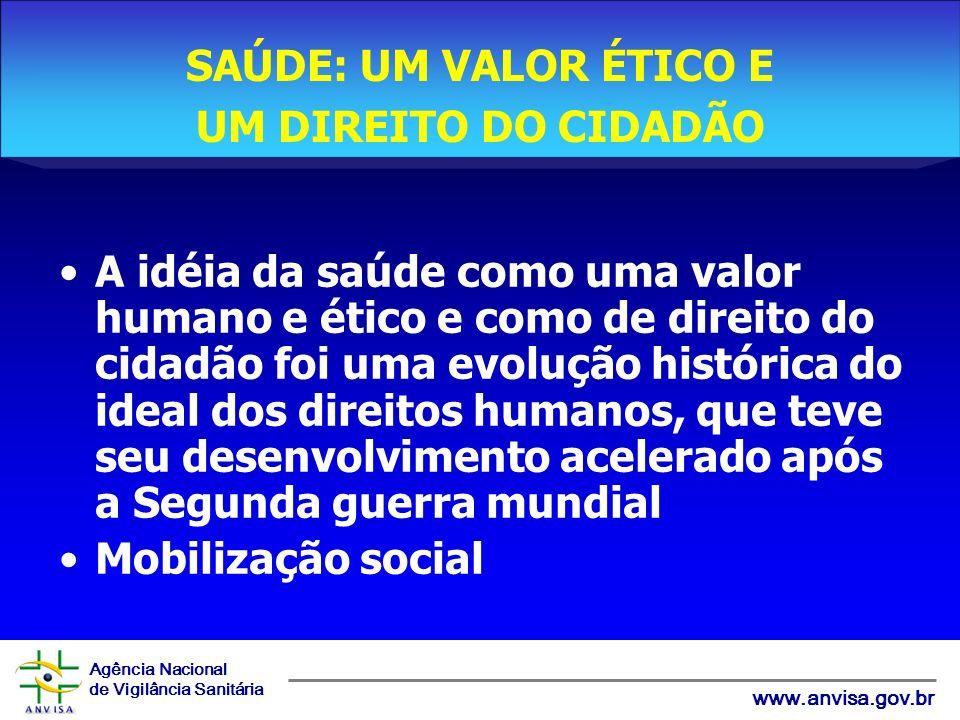 Agência Nacional de Vigilância Sanitária www.anvisa.gov.br A idéia da saúde como uma valor humano e ético e como de direito do cidadão foi uma evoluçã