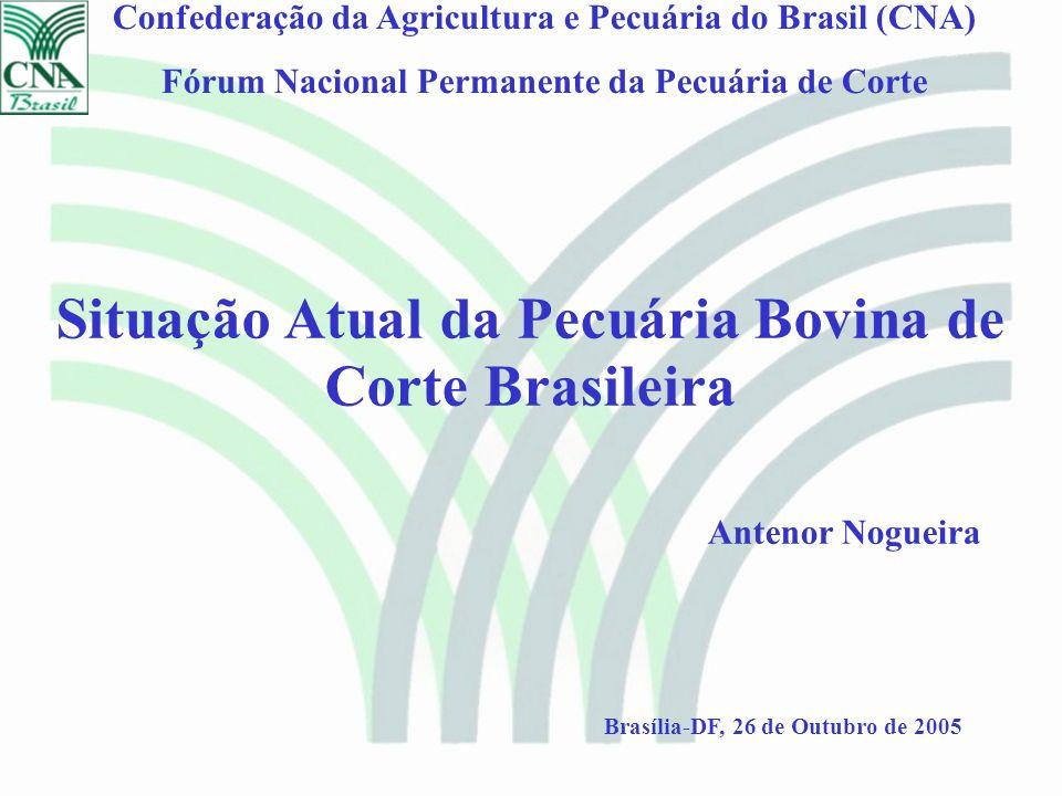 Confederação da Agricultura e Pecuária do Brasil (CNA) Fórum Nacional Permanente da Pecuária de Corte Situação Atual da Pecuária Bovina de Corte Brasi