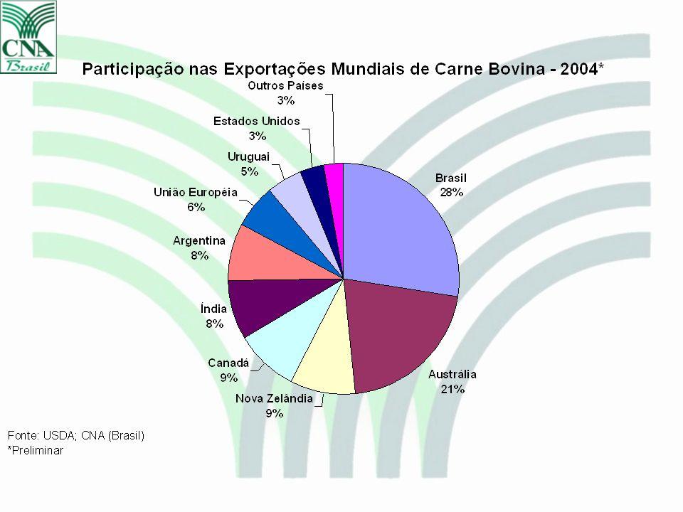Variações % do Custo de Produção da Pecuária de Corte – Jan a Dez/2004 Fonte: CNA e CEPEA/ESALQ/USP COE: Custo Operacional Efetivo COT: Custo Operacional Total Custo Total Preço da arroba