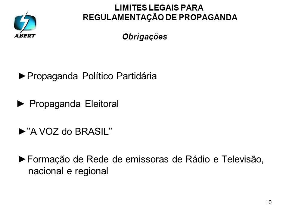 10 LIMITES LEGAIS PARA REGULAMENTAÇÃO DE PROPAGANDA Obrigações Propaganda Político Partidária Propaganda Eleitoral A VOZ do BRASIL Formação de Rede de emissoras de Rádio e Televisão, nacional e regional
