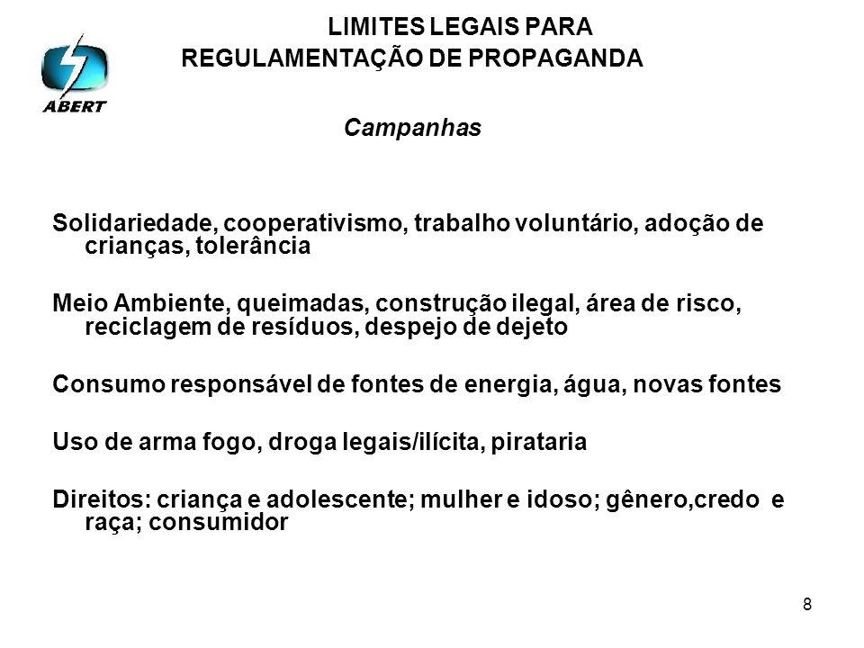 9 LIMITES LEGAIS PARA REGULAMENTAÇÃO DE PROPAGANDA Propaganda x Congresso Nacional 225 – 09/07