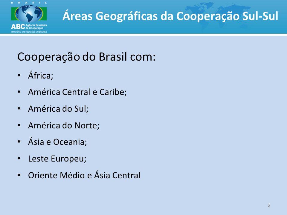 Áreas Geográficas da Cooperação Sul-Sul Cooperação do Brasil com: África; América Central e Caribe; América do Sul; América do Norte; Ásia e Oceania;