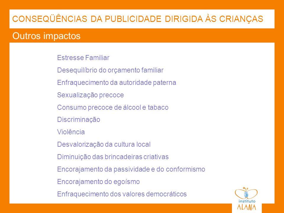 Outros impactos CONSEQÜÊNCIAS DA PUBLICIDADE DIRIGIDA ÀS CRIANÇAS Estresse Familiar Desequilíbrio do orçamento familiar Enfraquecimento da autoridade
