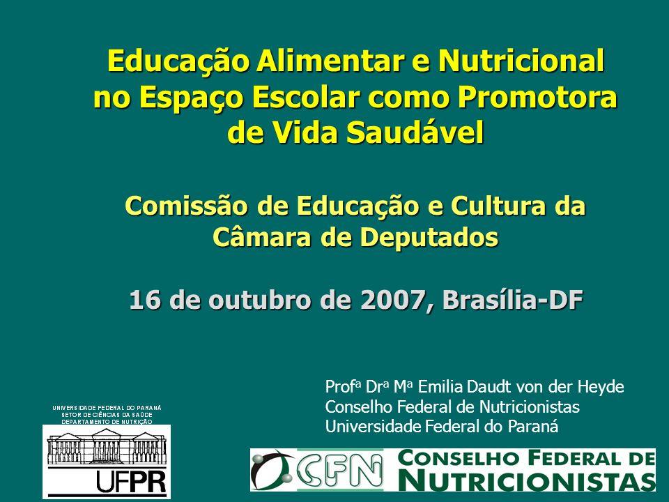 Educação Alimentar e Nutricional no Espaço Escolar como Promotora de Vida Saudável Comissão de Educação e Cultura da Câmara de Deputados 16 de outubro