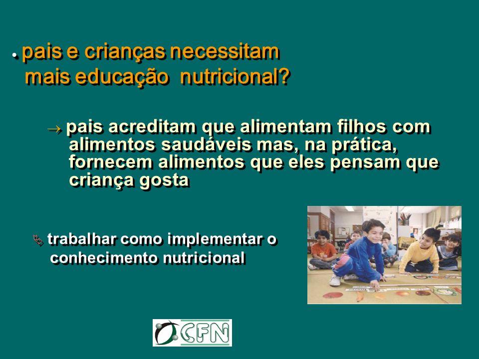 pais e crianças necessitam mais educação nutricional? pais acreditam que alimentam filhos com alimentos saudáveis mas, na prática, fornecem alimentos