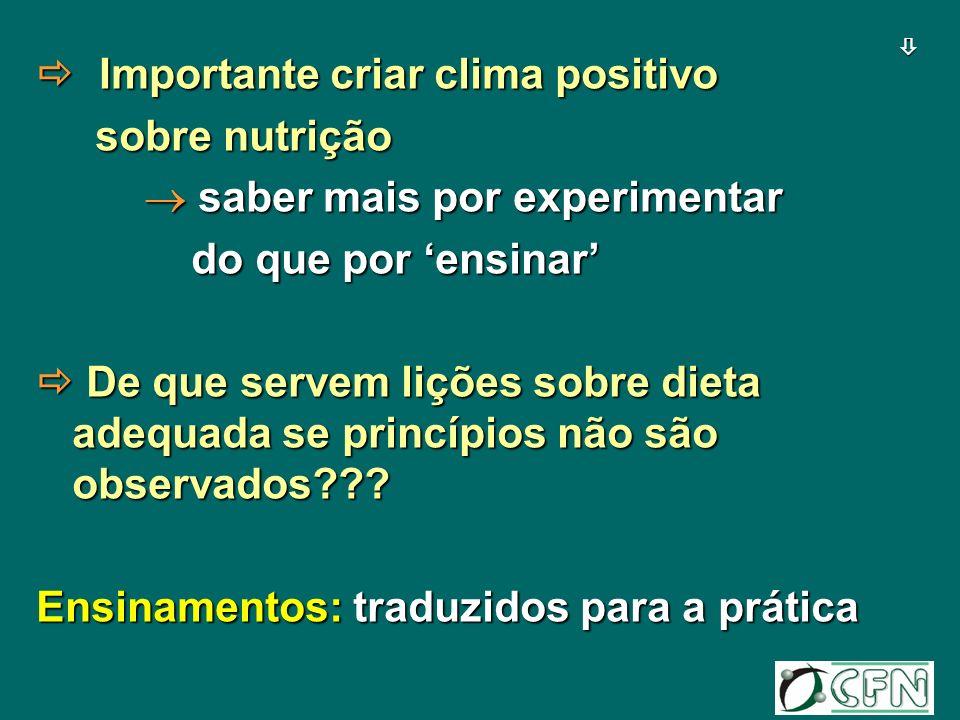 Importante criar clima positivo Importante criar clima positivo sobre nutrição sobre nutrição saber mais por experimentar saber mais por experimentar