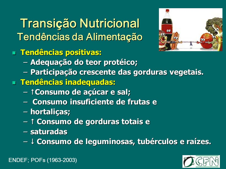 Transi ç ão Nutricional Tendências da Alimenta ç ão Tendências positivas: Tendências positivas: –Adequação do teor protéico; –Participação crescente d