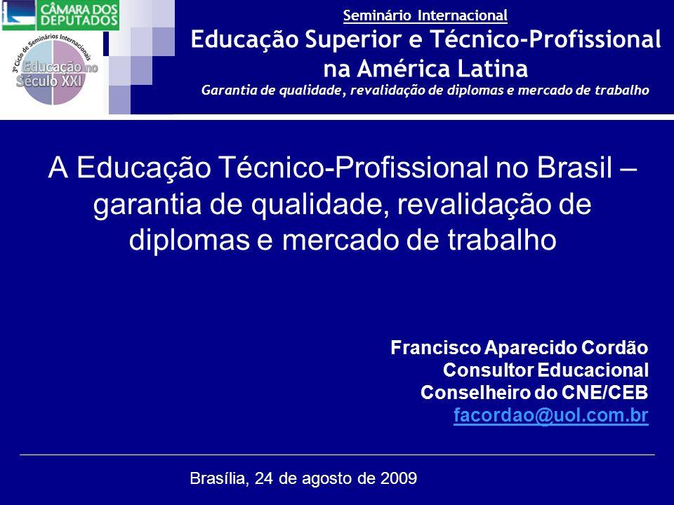 Seminário Internacional Educação Superior e Técnico-Profissional na América Latina Garantia de qualidade, revalidação de diplomas e mercado de trabalho Brasília, 24 de agosto de 2009 Estrutura da Educação Nacional EducaçãoaDistânciaEducaçãoaDistância