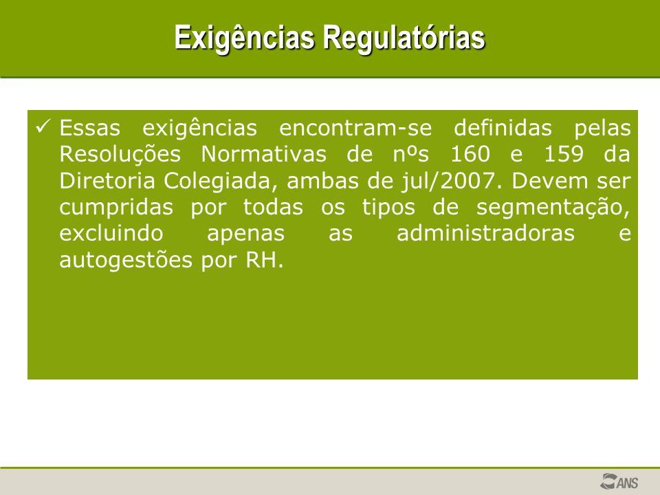 Exigências Regulatórias Essas exigências encontram-se definidas pelas Resoluções Normativas de nºs 160 e 159 da Diretoria Colegiada, ambas de jul/2007.