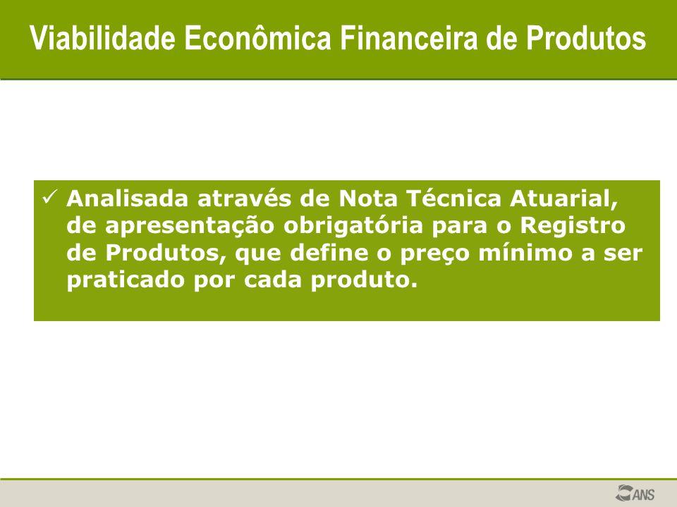 Viabilidade Econômica Financeira de Produtos Analisada através de Nota Técnica Atuarial, de apresentação obrigatória para o Registro de Produtos, que define o preço mínimo a ser praticado por cada produto.