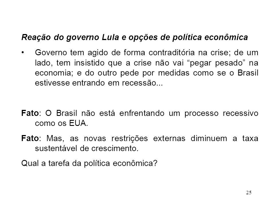 25 Reação do governo Lula e opções de política econômica Governo tem agido de forma contraditória na crise; de um lado, tem insistido que a crise não vai pegar pesado na economia; e do outro pede por medidas como se o Brasil estivesse entrando em recessão...