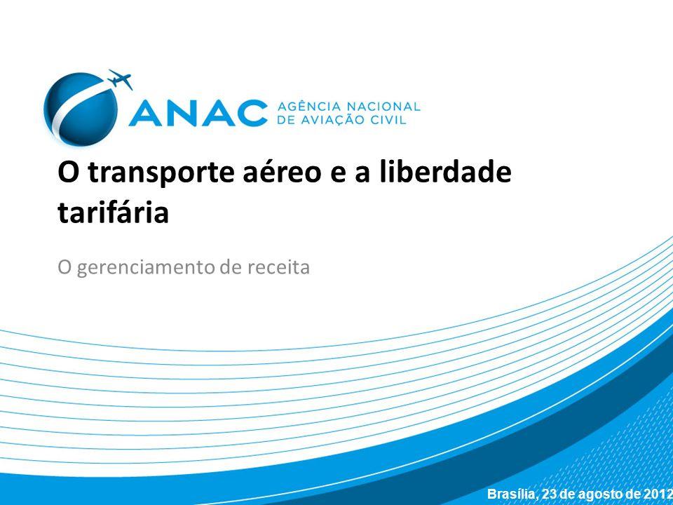 O transporte aéreo e a liberdade tarifária O gerenciamento de receita Brasília, 23 de agosto de 2012