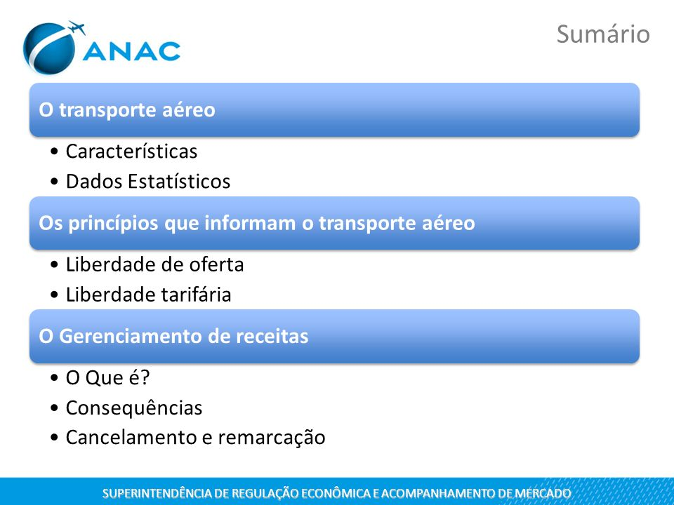 O transporte aéreo Características Dados Estatísticos Os princípios que informam o transporte aéreo Liberdade de oferta Liberdade tarifária O Gerencia