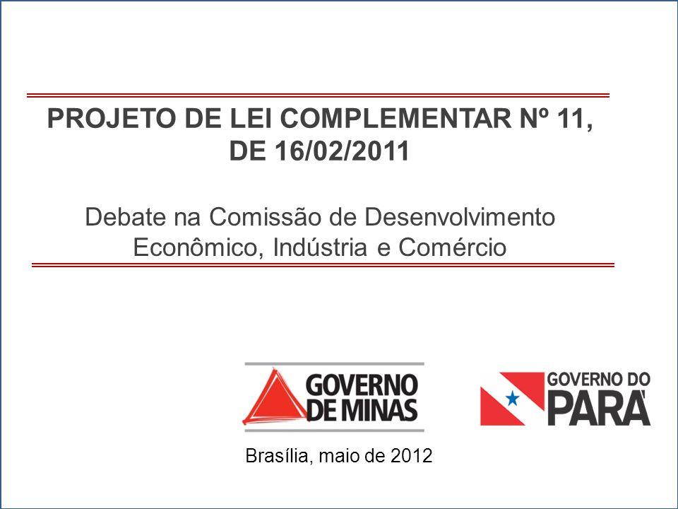1 PROJETO DE LEI COMPLEMENTAR Nº 11, DE 16/02/2011 Brasília, maio de 2012 Debate na Comissão de Desenvolvimento Econômico, Indústria e Comércio