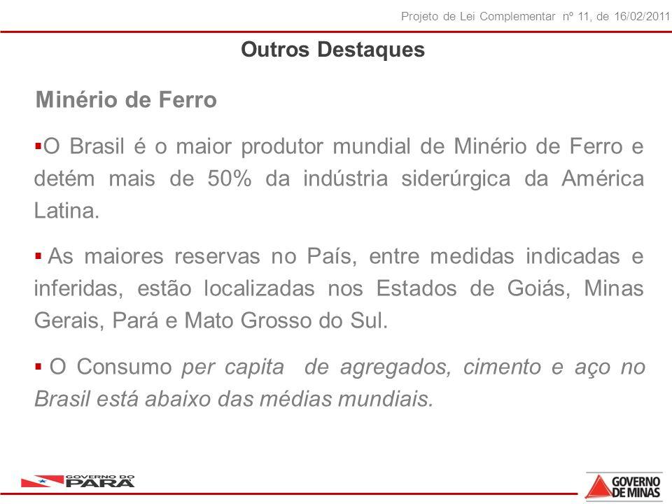 20 Projeto de Lei Complementar nº 11, de 16/02/2011 Outros Destaques Minério de Ferro O Brasil é o maior produtor mundial de Minério de Ferro e detém mais de 50% da indústria siderúrgica da América Latina.