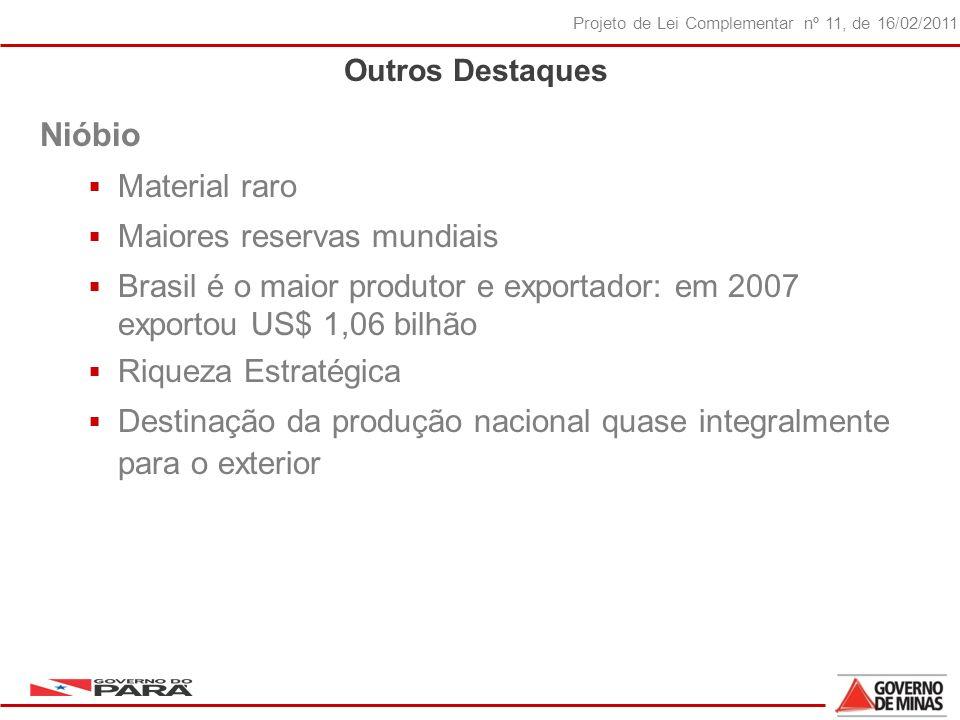 21 Projeto de Lei Complementar nº 11, de 16/02/2011 Outros Destaques Nióbio Material raro Maiores reservas mundiais Brasil é o maior produtor e exportador: em 2007 exportou US$ 1,06 bilhão Riqueza Estratégica Destinação da produção nacional quase integralmente para o exterior