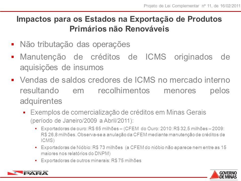 23 Projeto de Lei Complementar nº 11, de 16/02/2011 Impactos para os Estados na Exportação de Produtos Primários não Renováveis Não tributação das operações Manutenção de créditos de ICMS originados de aquisições de insumos Vendas de saldos credores de ICMS no mercado interno resultando em recolhimentos menores pelos adquirentes Exemplos de comercialização de créditos em Minas Gerais (período de Janeiro/2009 a Abril/2011): Exportadoras de ouro: R$ 65 milhões – (CFEM do Ouro: 2010: R$ 32,5 milhões – 2009: R$ 26,8 milhões.