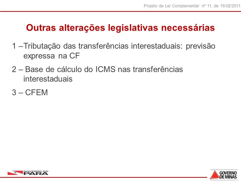 27 Projeto de Lei Complementar nº 11, de 16/02/2011 Outras alterações legislativas necessárias 1 –Tributação das transferências interestaduais: previsão expressa na CF 2 – Base de cálculo do ICMS nas transferências interestaduais 3 – CFEM