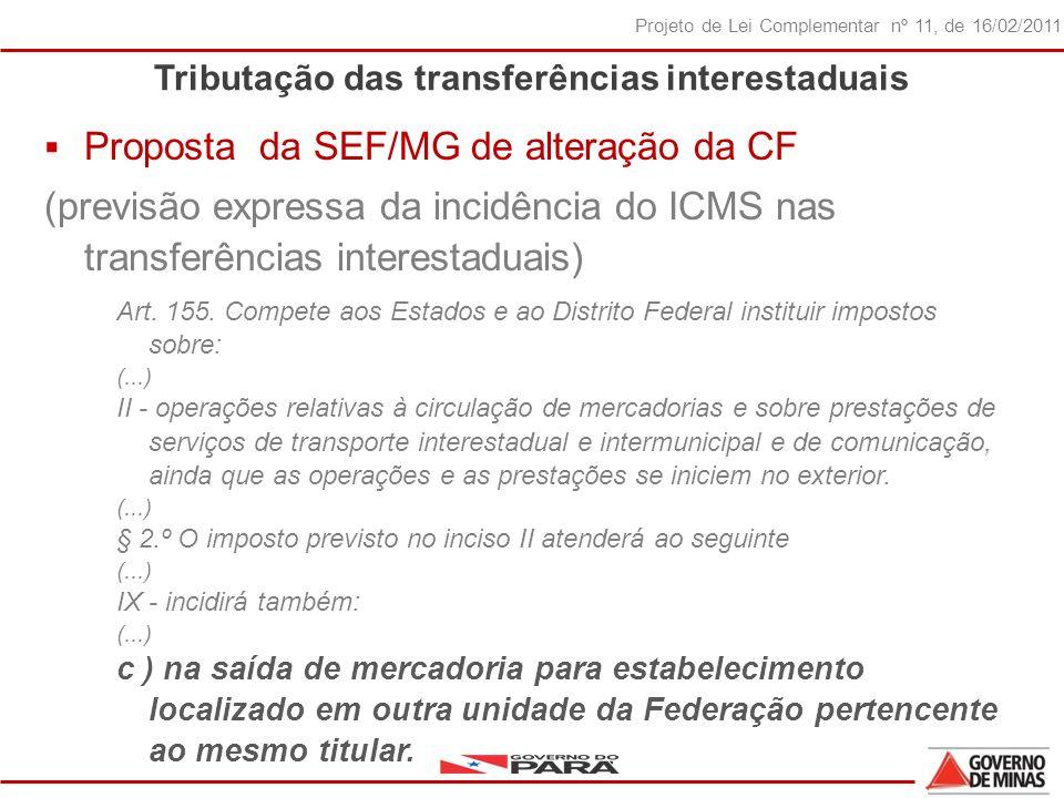 29 Projeto de Lei Complementar nº 11, de 16/02/2011 Tributação das transferências interestaduais Proposta da SEF/MG de alteração da CF (previsão expressa da incidência do ICMS nas transferências interestaduais) Art.