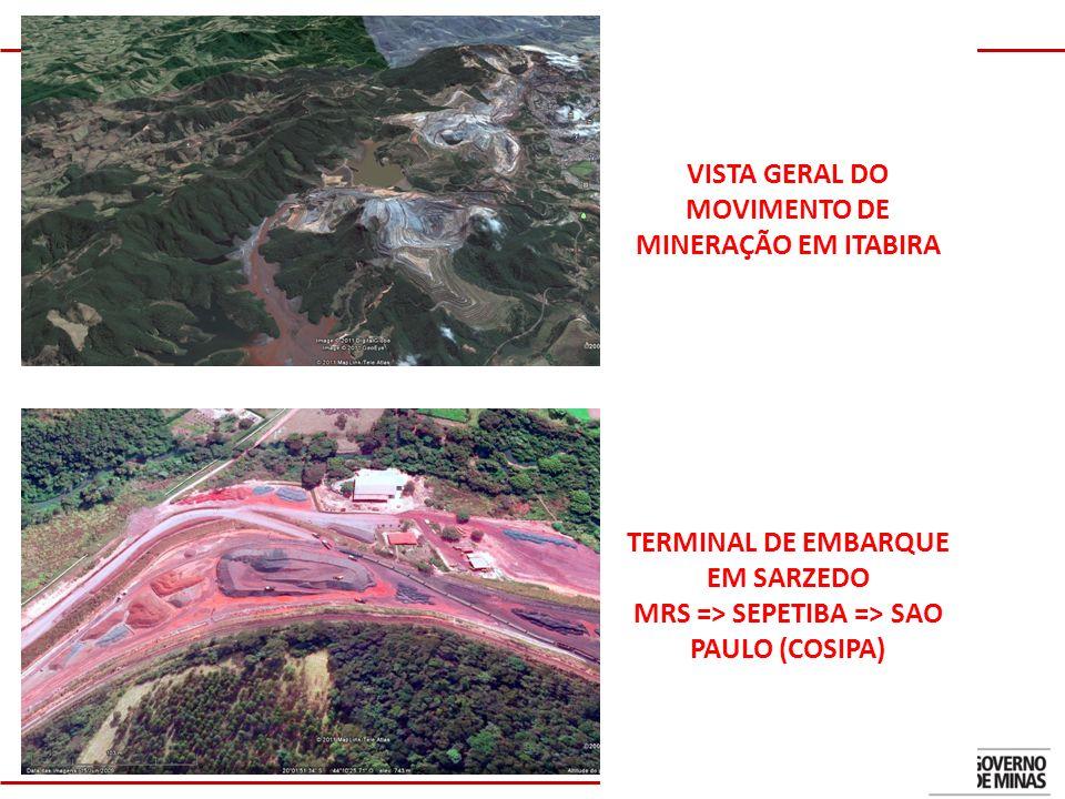 4 TERMINAL DE EMBARQUE EM SARZEDO MRS => SEPETIBA => SAO PAULO (COSIPA) VISTA GERAL DO MOVIMENTO DE MINERAÇÃO EM ITABIRA