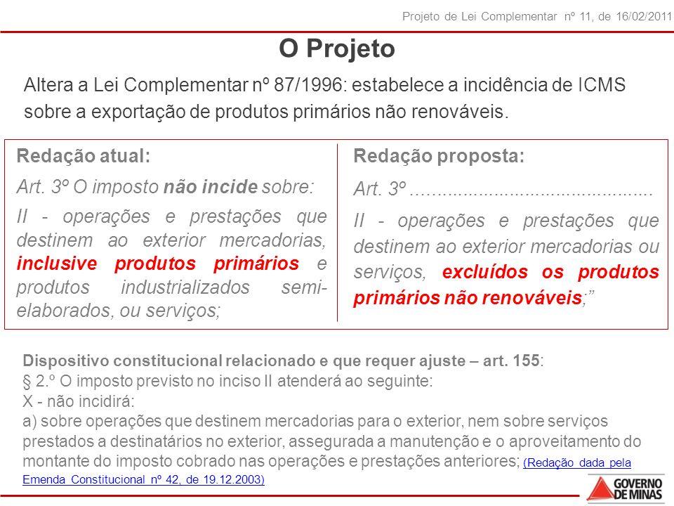 7 Projeto de Lei Complementar nº 11, de 16/02/2011 O Projeto Redação atual: Art.