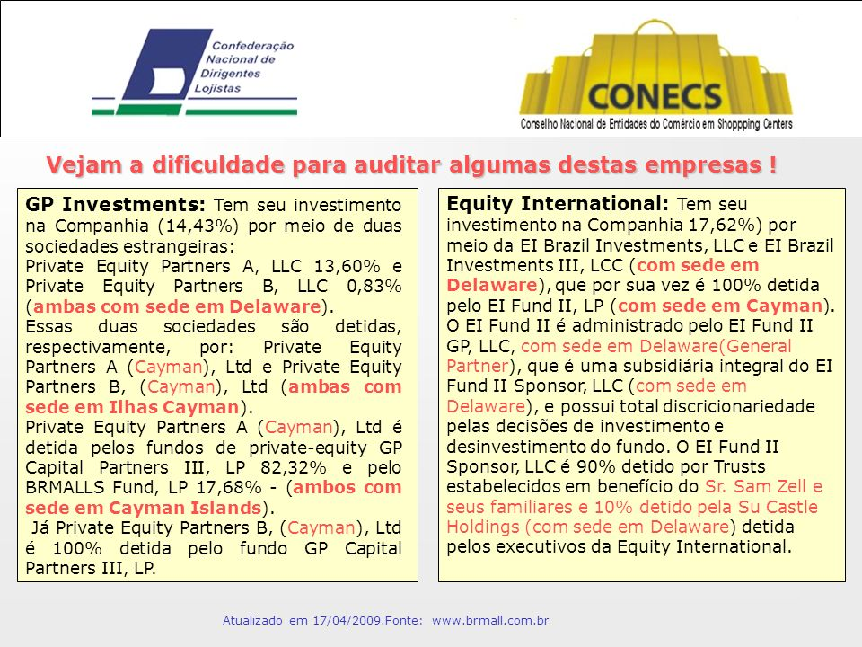 Equity International: Tem seu investimento na Companhia 17,62%) por meio da EI Brazil Investments, LLC e EI Brazil Investments III, LCC (com sede em Delaware), que por sua vez é 100% detida pelo EI Fund II, LP (com sede em Cayman).