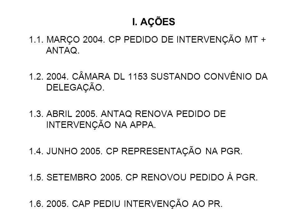 I. AÇÕES 1.1. MARÇO 2004. CP PEDIDO DE INTERVENÇÃO MT + ANTAQ. 1.2. 2004. CÂMARA DL 1153 SUSTANDO CONVÊNIO DA DELEGAÇÃO. 1.3. ABRIL 2005. ANTAQ RENOVA