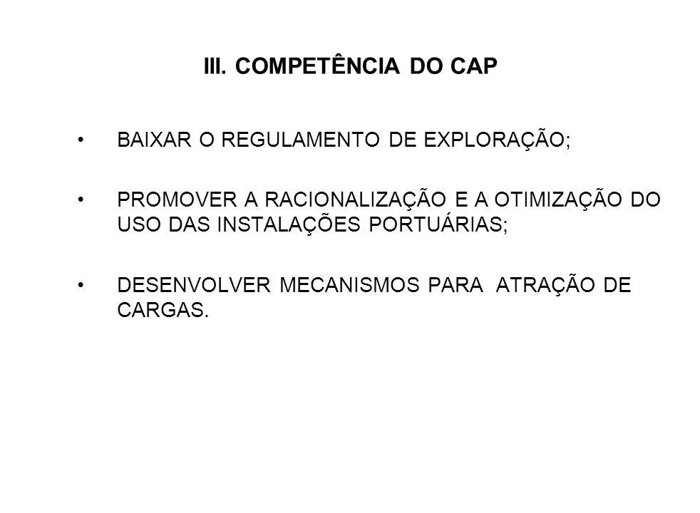 III. COMPETÊNCIA DO CAP BAIXAR O REGULAMENTO DE EXPLORAÇÃO; PROMOVER A RACIONALIZAÇÃO E A OTIMIZAÇÃO DO USO DAS INSTALAÇÕES PORTUÁRIAS; DESENVOLVER ME