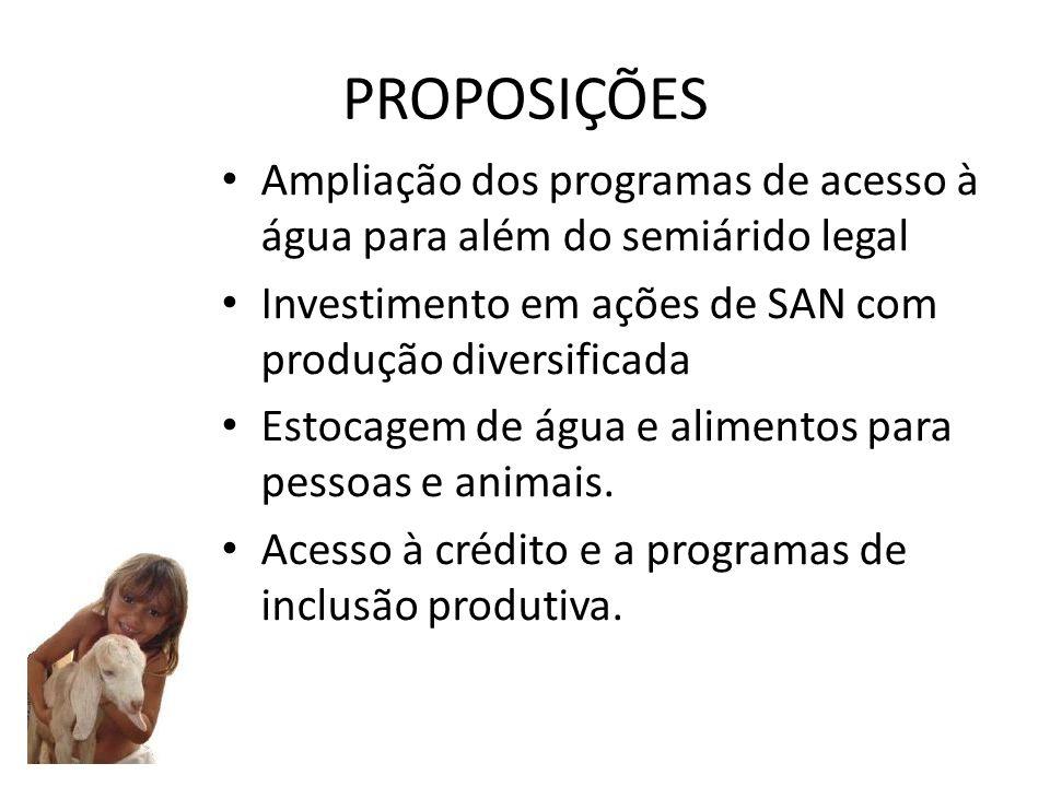 PROPOSIÇÕES Ampliação dos programas de acesso à água para além do semiárido legal Investimento em ações de SAN com produção diversificada Estocagem de