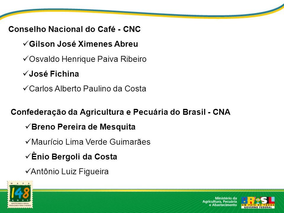 Conselho Nacional do Café - CNC Gilson José Ximenes Abreu Osvaldo Henrique Paiva Ribeiro José Fichina Carlos Alberto Paulino da Costa Confederação da