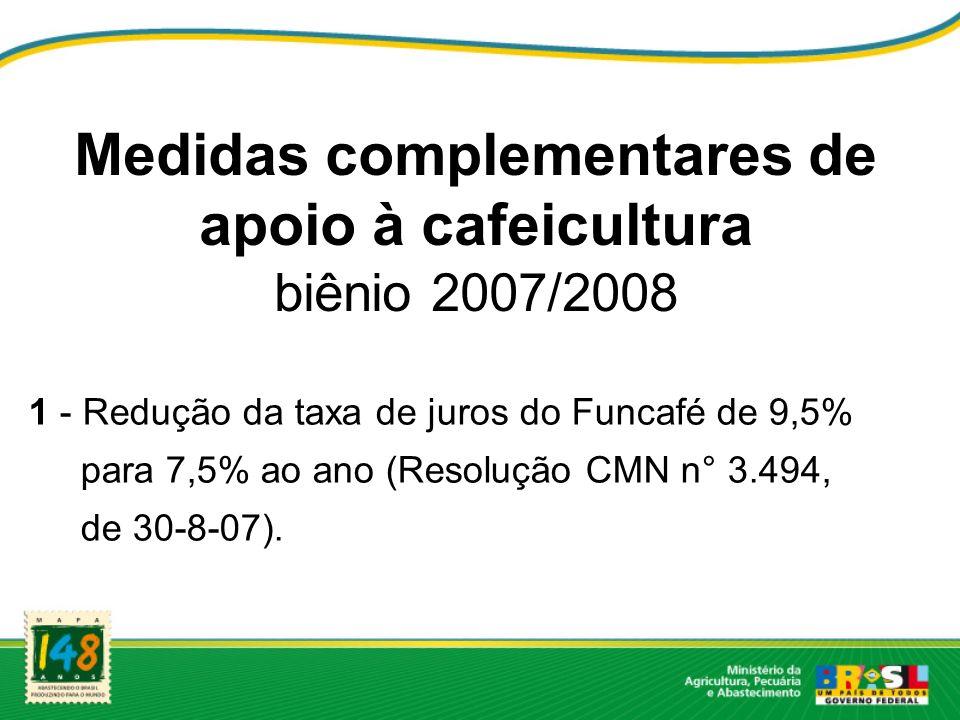 Medidas complementares de apoio à cafeicultura biênio 2007/2008 1 - Redução da taxa de juros do Funcafé de 9,5% para 7,5% ao ano (Resolução CMN n° 3.4