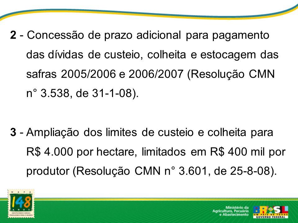 2 - Concessão de prazo adicional para pagamento das dívidas de custeio, colheita e estocagem das safras 2005/2006 e 2006/2007 (Resolução CMN n° 3.538,