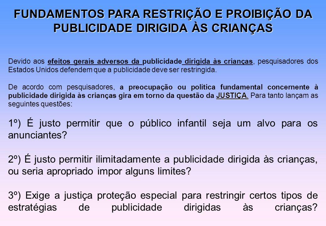 FUNDAMENTOS PARA RESTRIÇÃO E PROIBIÇÃO DA PUBLICIDADE DIRIGIDA ÀS CRIANÇAS Devido aos efeitos gerais adversos da publicidade dirigida às crianças, pes