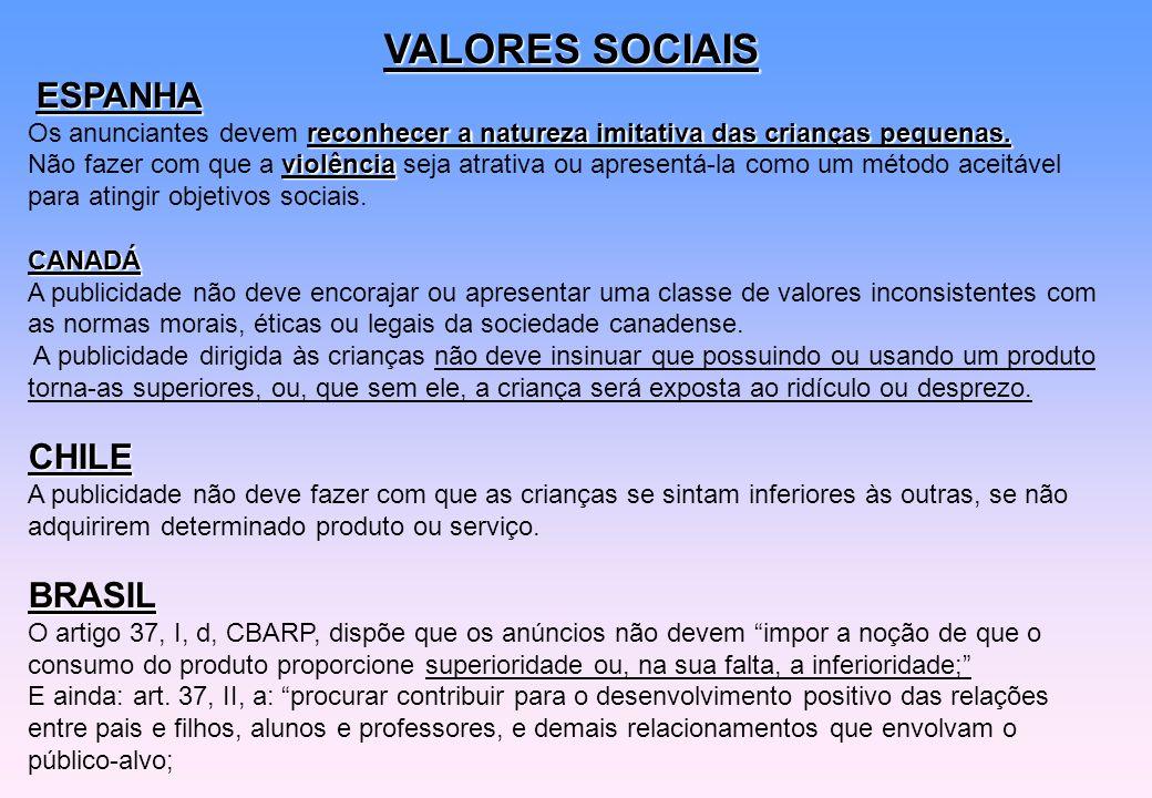 VALORES SOCIAIS ESPANHA reconhecer a natureza imitativa das crianças pequenas. Os anunciantes devem reconhecer a natureza imitativa das crianças peque