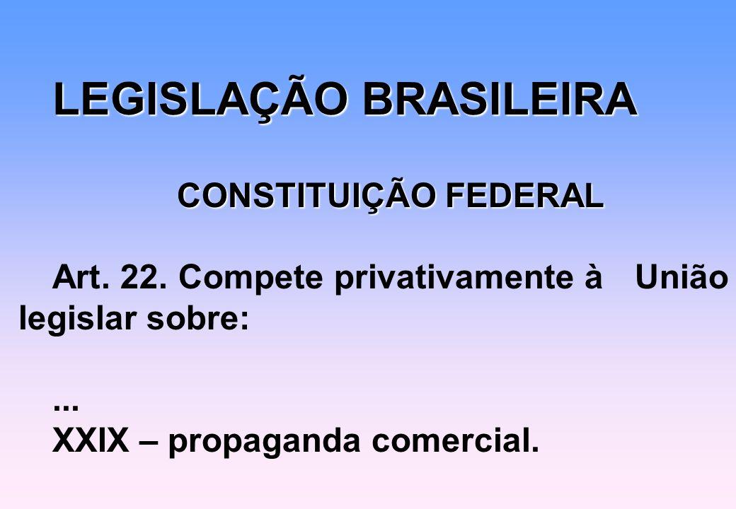 LEGISLAÇÃO BRASILEIRA CONSTITUIÇÃO FEDERAL Art. 22. Compete privativamente à União legislar sobre:... XXIX – propaganda comercial.