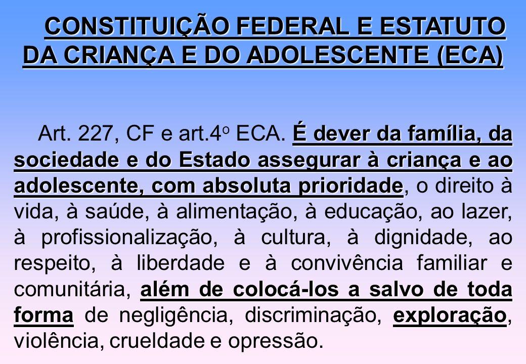 CONSTITUIÇÃO FEDERAL E ESTATUTO DA CRIANÇA E DO ADOLESCENTE (ECA) É dever da família, da sociedade e do Estado assegurar à criança e ao adolescente, c