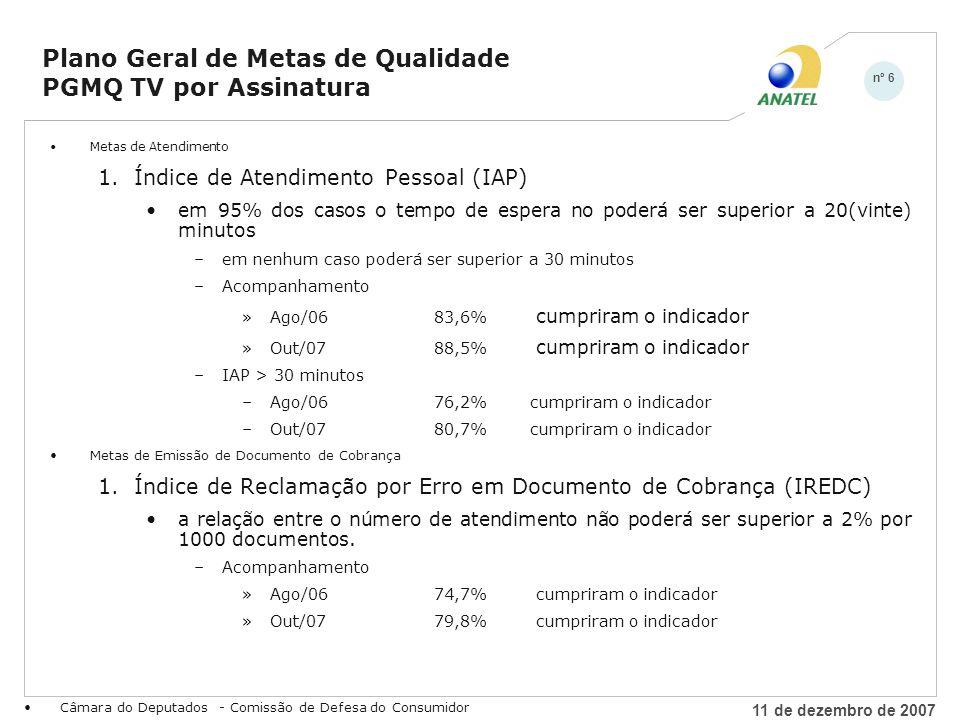 11 de dezembro de 2007 nº 7 Câmara do Deputados - Comissão de Defesa do Consumidor Plano Geral de Metas de Qualidade PGMQ TV por Assinatura Metas de Continuidade de Serviço 1.Índice de Interrupções Solucionadas (IITS) em 95% dos casos as interrupções deverão ser solucionados em até 24 h –em nenhum caso poderá ser superior a 48h –Acompanhamento »Ago/0684,5% cumpriram o indicador »Out/0790,5% cumpriram o indicador –IITS > 48h –Ago/0684,2%cumpriram o indicador –Out/0790,2%cumpriram o indicador