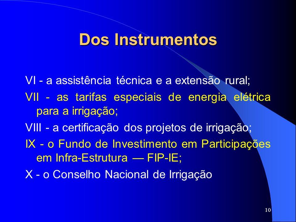 10 Dos Instrumentos VI - a assistência técnica e a extensão rural; VII - as tarifas especiais de energia elétrica para a irrigação; VIII - a certifica