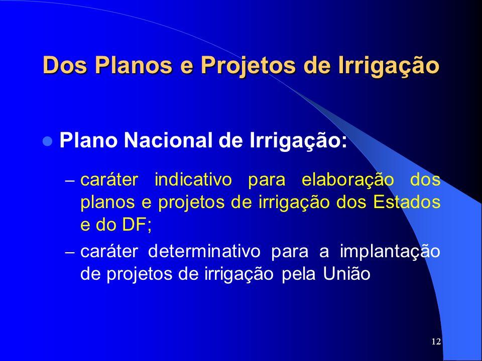 12 Dos Planos e Projetos de Irrigação Plano Nacional de Irrigação: – caráter indicativo para elaboração dos planos e projetos de irrigação dos Estados