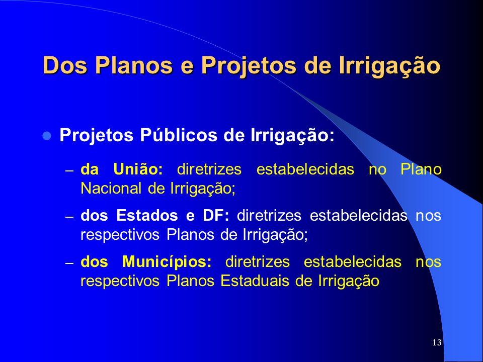 13 Dos Planos e Projetos de Irrigação Projetos Públicos de Irrigação: – da União: diretrizes estabelecidas no Plano Nacional de Irrigação; – dos Estad