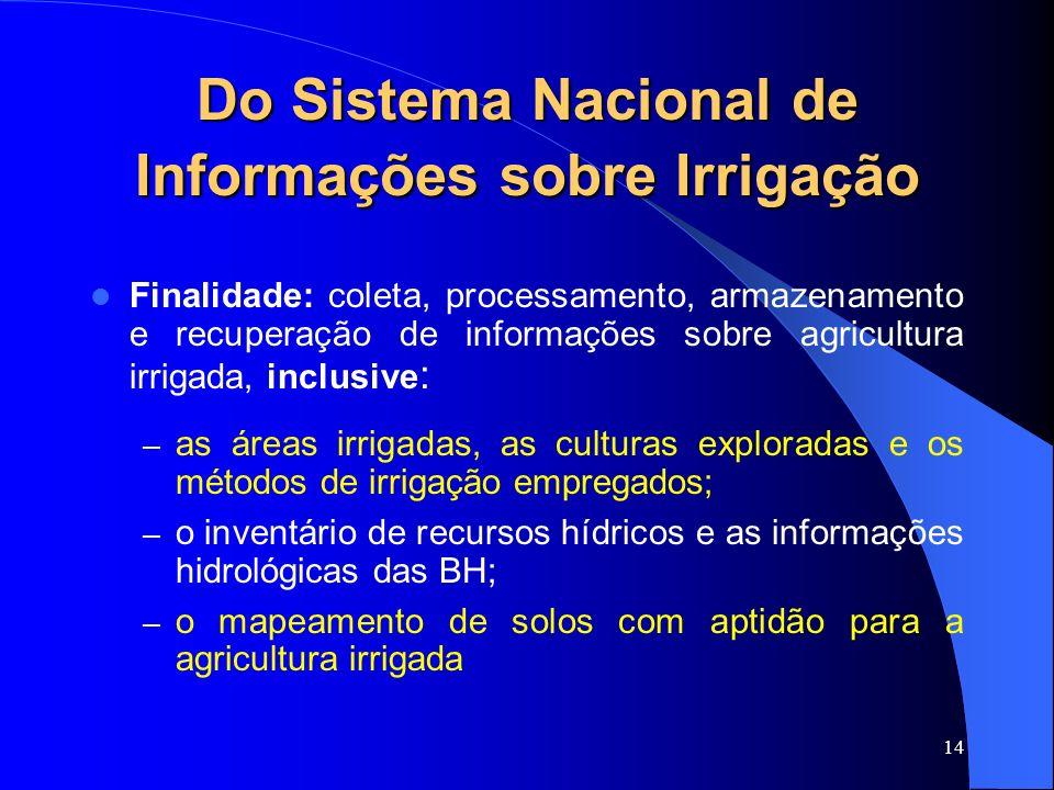 14 Do Sistema Nacional de Informações sobre Irrigação Finalidade: coleta, processamento, armazenamento e recuperação de informações sobre agricultura